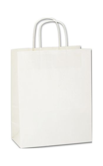 Recycled White Kraft Paper Shoppers Lindsey, 10 x 5 x 13