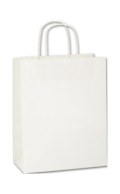 Recycled White Kraft Paper Shoppers Lindsey, 10 x 5 x 13""