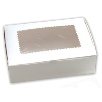 White Windowed Standard Cupcake Boxes, 12 Cupcakes