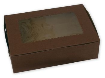 Chocolate Windowed Standard Cupcake Boxes, 12 Cupcakes