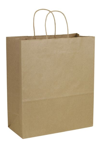 Recycled Kraft Paper Shoppers Escort, 13 x 6 x 15 1/2""