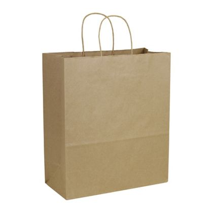 Recycled Kraft Paper Shoppers Escort, 13 x 7 x 15