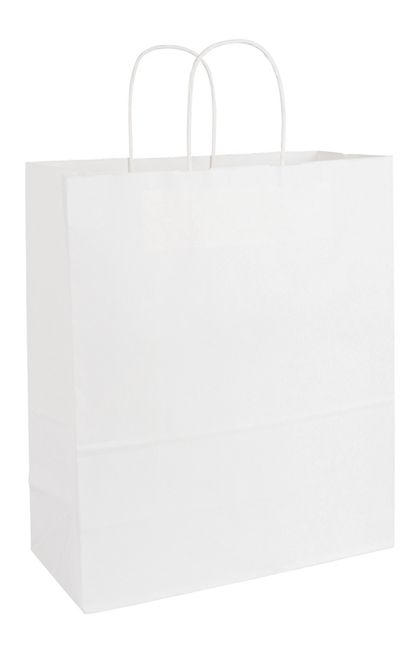 """Recycled White Kraft Paper Shoppers Escort, 13x6x15 1/2"""""""
