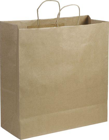 "Recycled Kraft Paper Shoppers Jumbo, 18 x 7 x 19"""