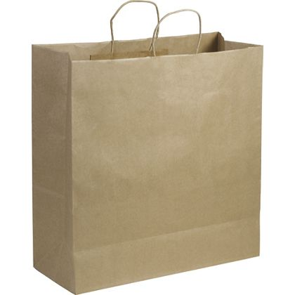 Recycled Kraft Paper Shoppers Jumbo, 18 x 7 x 19""