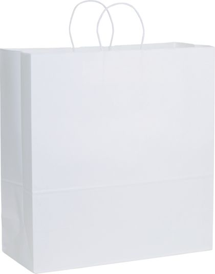 Recycled White Kraft Paper Shoppers Jumbo, 18 x 7 x 19""