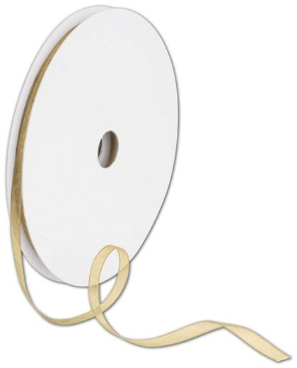 "Sheer Organdy Gold Ribbon, 1/4"" x 100 Yds"