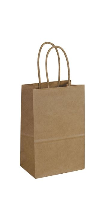 Kraft Paper Shoppers Mini Cub, 5 1/4 x 3 1/2 x 8 1/4
