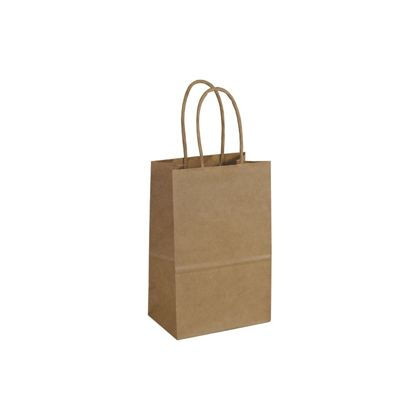 Kraft Paper Shoppers Mini Cub, 5 1/4 x 3 1/2 x 8 1/4""