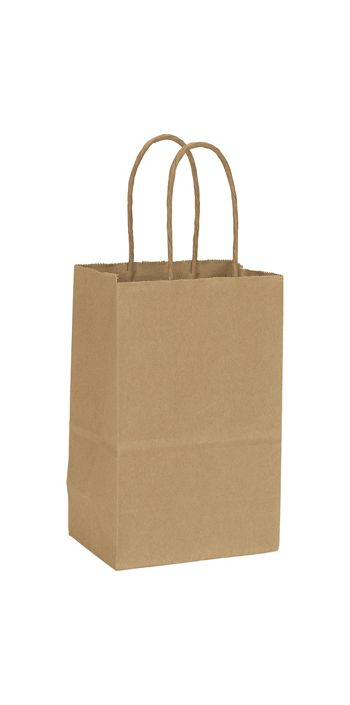 Recycled Kraft Paper Shoppers Mini Cub, 5 1/4x3 1/2x8 1/4