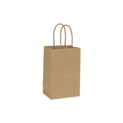 "Recycled Kraft Paper Shoppers Mini Cub, 5 1/4x3 1/2x8 1/4"""