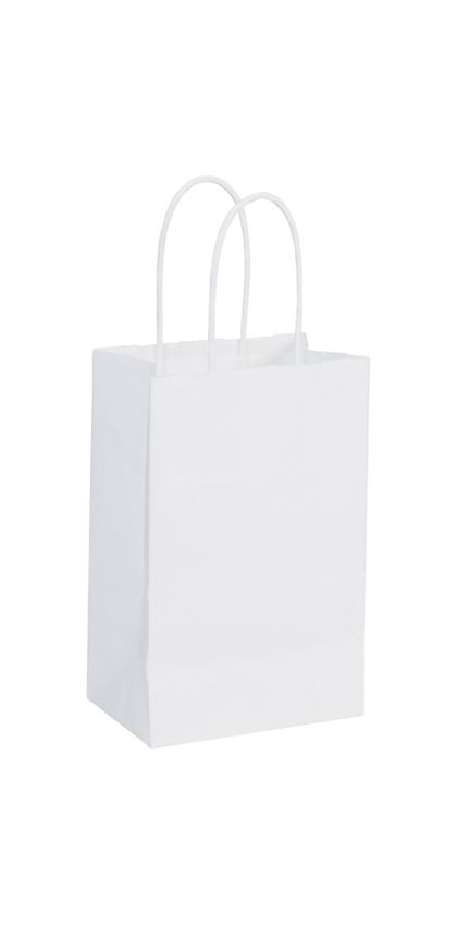 Recycled White Kraft Paper Shoppers Mini Cub