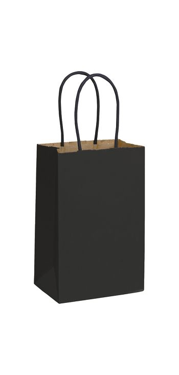 Black Color-on-Kraft Shoppers, 5 1/4 x 3 1/2 x 8 1/4