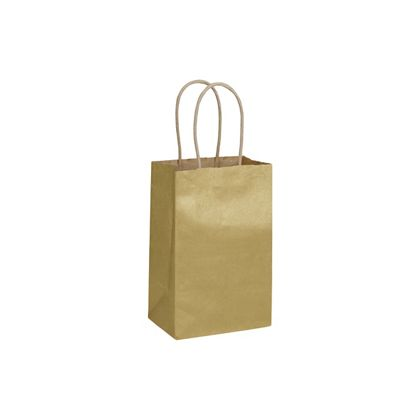 Gold Metallic on Kraft Shoppers, 5 1/4 x 3 1/2 x 8 1/4