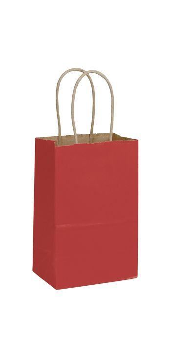 Brick Red Color-on-Kraft Shoppers, 5 1/4 x 3 1/2 x 8 1/4