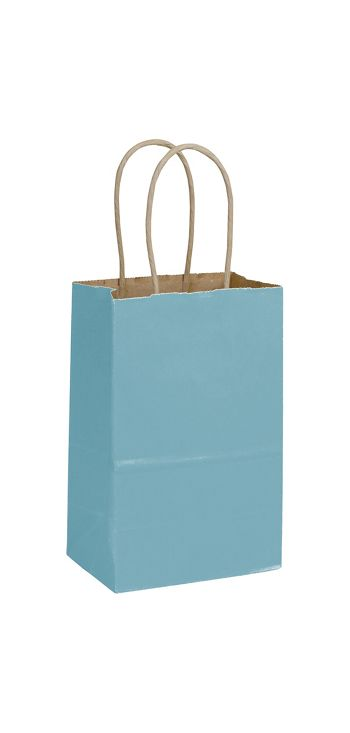 Robin's Egg Color-on-Kraft Shoppers, 5 1/4 x 3 1/2 x 8 1/4