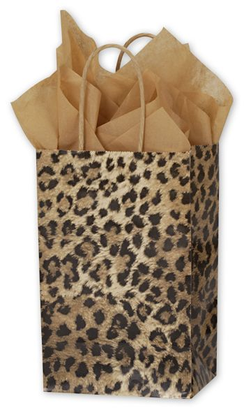Leopard Printed Shoppers, 5 1/4 x 3 1/2 x 8 1/4