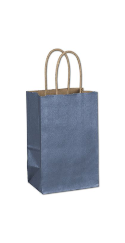 Blue Metallic-on-Kraft Shoppers, 5 1/4 x 3 1/2 x 8 1/4""