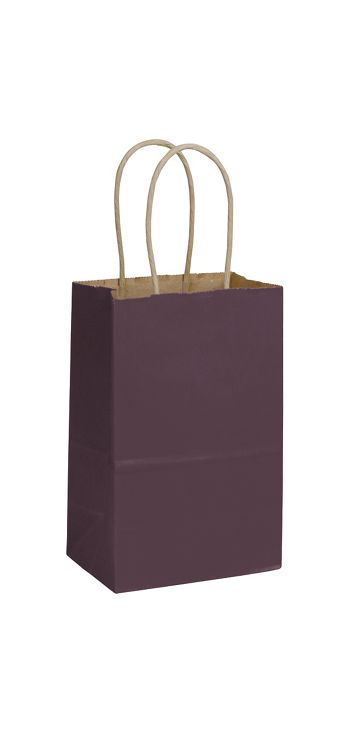 Plum Color-on-Kraft Shoppers, 5 1/4 x 3 1/2 x 8 1/4