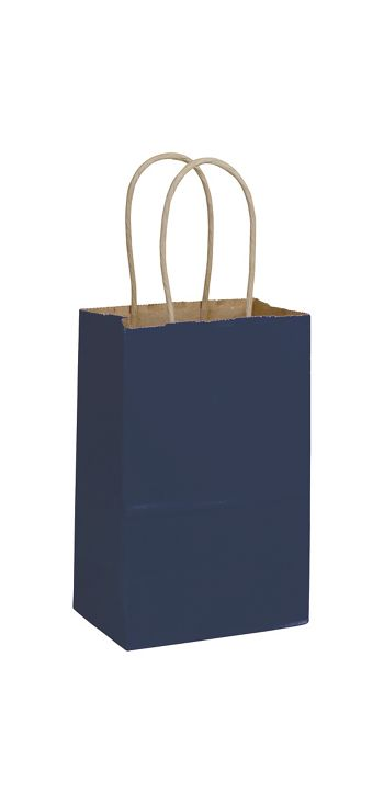 Dark Blue Color-on-Kraft Shoppers, 5 1/4 x 3 1/2 x 8 1/4