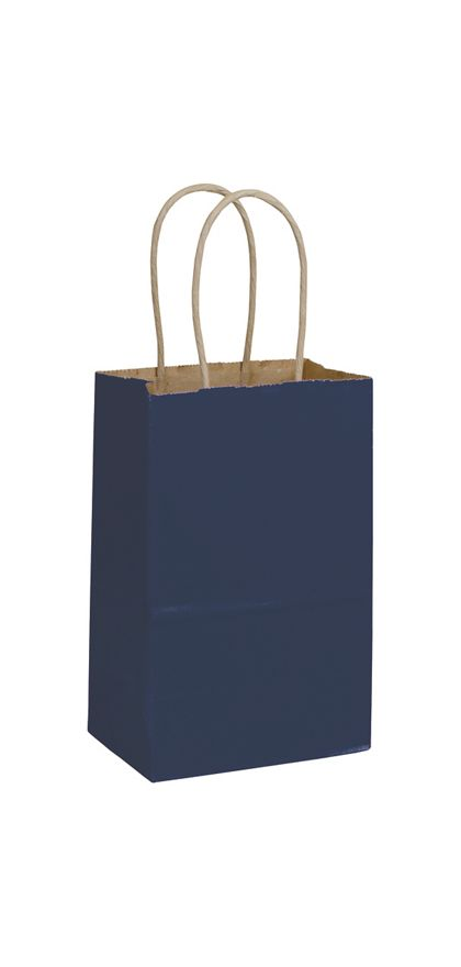 Dark Blue Color-on-Kraft Shoppers, 5 1/4 x 3 1/2 x 8 1/4""