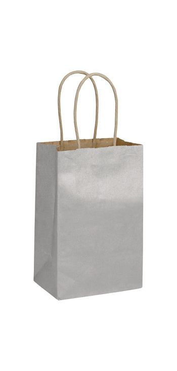 Silver Metallic-on-Kraft Shoppers, 5 1/4 x 3 1/2 x 8 1/4