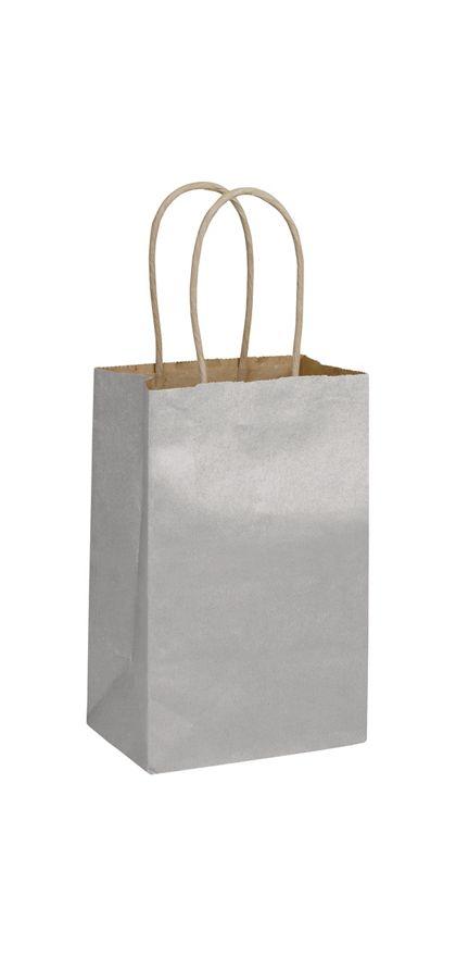 "Silver Metallic-on-Kraft Shoppers, 5 1/4 x 3 1/2 x 8 1/4"""