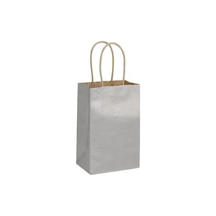 Silver Metallic-on-Kraft Shoppers, 5 1/4 x 3 1/2 x 8 1/4""
