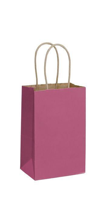 Cerise Color-on-Kraft Shoppers, 5 1/4 x 3 1/2 x 8 1/4