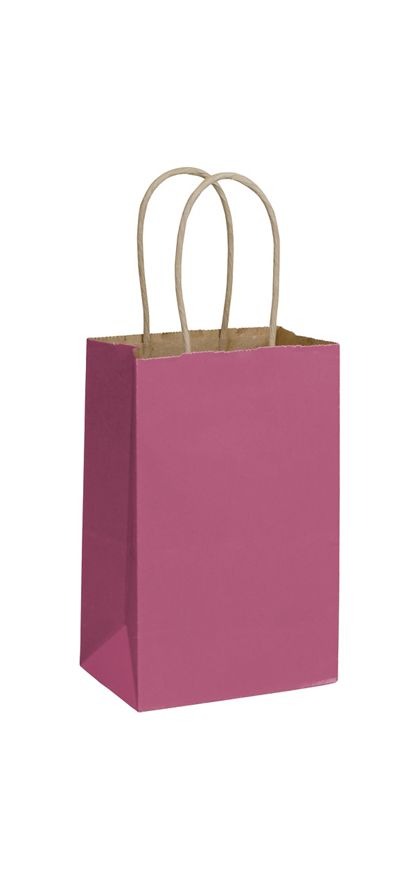 Cerise Color-on-Kraft Shoppers, 5 1/4 x 3 1/2 x 8 1/4""