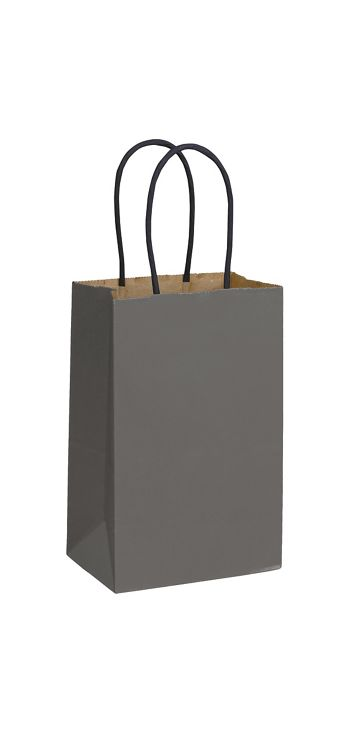Storm Grey Color-on-Kraft Shoppers, 5 1/4 x 3 1/2 x 8 1/4