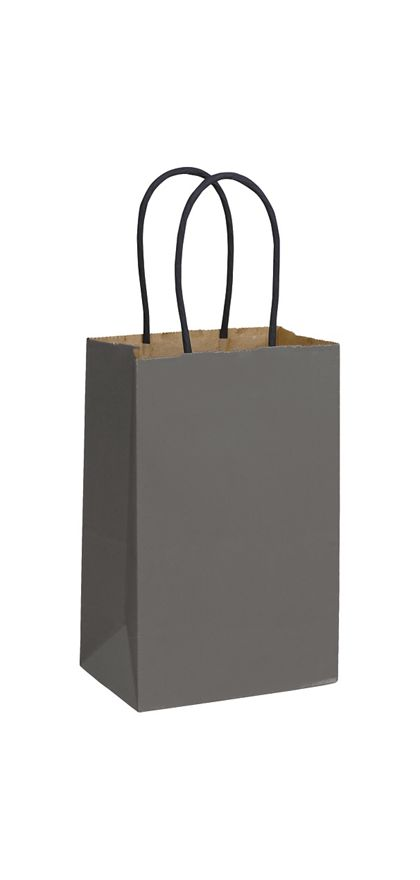 """Storm Grey Color-on-Kraft Shoppers, 5 1/4 x 3 1/2 x 8 1/4"""""""