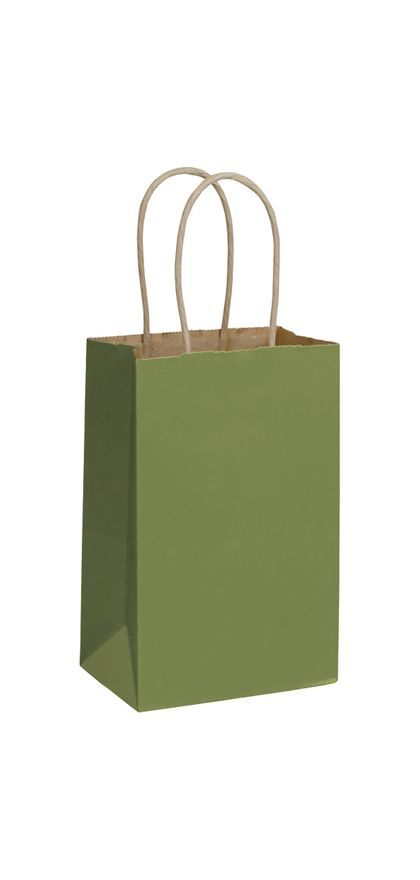 Rainforest Green Color-on-Kraft Shoppers 5 1/4x3 1/2x8 1/4