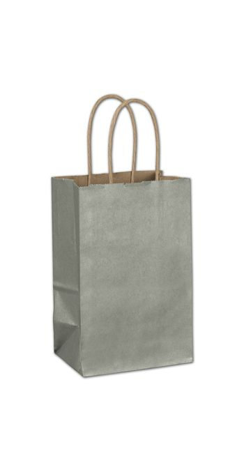Sage Metallic-on-Kraft Shoppers, 5 1/4 x 3 1/2 x 8 1/4