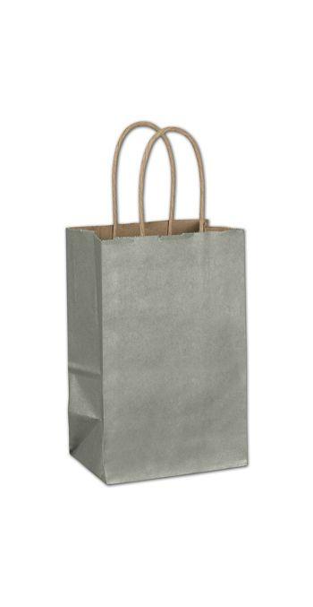 Sage Metallic-on-Kraft Shoppers, 5 1/4 x 3 1/2 x 8 1/4