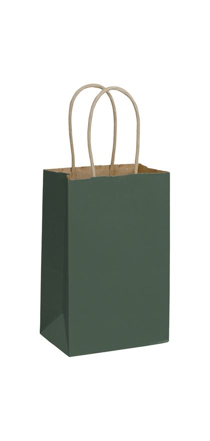 Forest Green Color-on-Kraft Shoppers, 5 1/4x3 1/2x8 1/4""