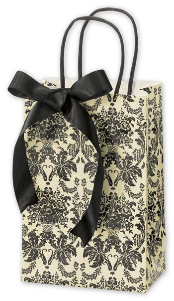 Onyx Damask Shoppers, 5 1/4 x 3 1/2 x 8 1/4