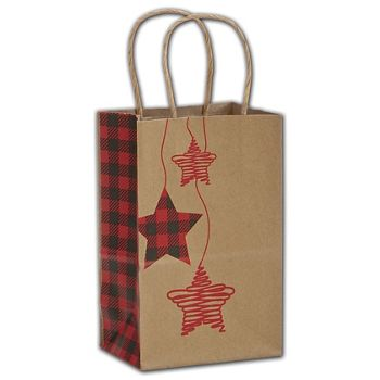 Festive Flannel Shoppers, 5 1/4 x 3 1/2 x 8 1/4