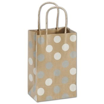 Silver & White Dots on Kraft Shoppers, 5 1/4x3 1/2x8 1/4""