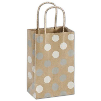 Silver & White Dots on Kraft Shoppers, 5 1/4x3 1/2x8 1/4