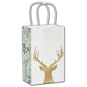 Rustic Deer Shoppers, 5 1/4 x 3 1/2 x 8 1/4