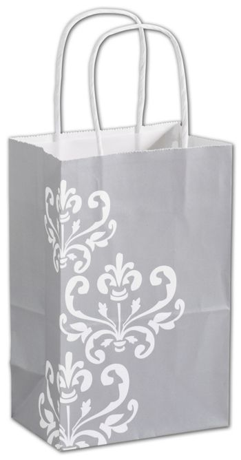 Silvery Chic Shoppers, 5 1/4 x 3 1/2 x 8 1/4