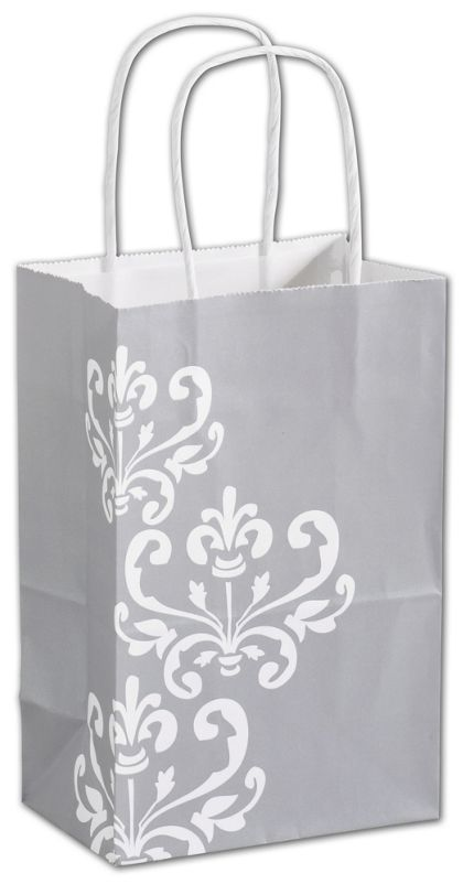 Silvery Chic Shoppers, 5 1/4 x 3 1/2 x 8 1/4""
