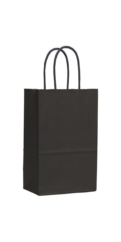 Black Varnish Stripe Shoppers, 5 1/4 x 3 1/2 x 8 1/4""