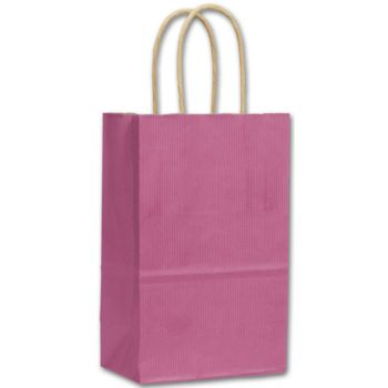 Hot Pink Color-on-White Kraft Shoppers, 5 1/4x3 1/2x8 1/4