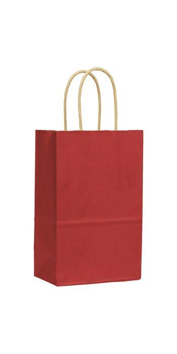 Red Varnish Stripe Shoppers, 5 1/4 x 3 1/2 x 8 1/4