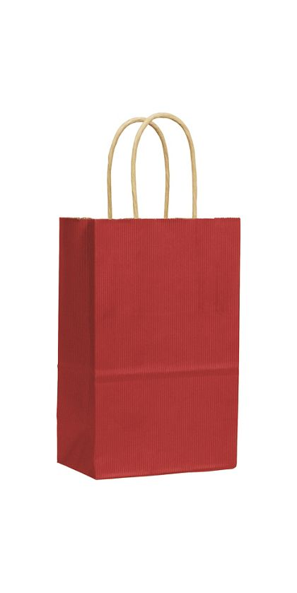"Red Varnish Stripe Shoppers, 5 1/4 x 3 1/2 x 8 1/4"""