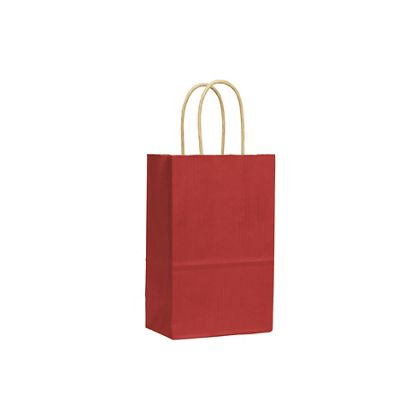 Red Varnish Stripe Shoppers, 5 1/4 x 3 1/2 x 8 1/4