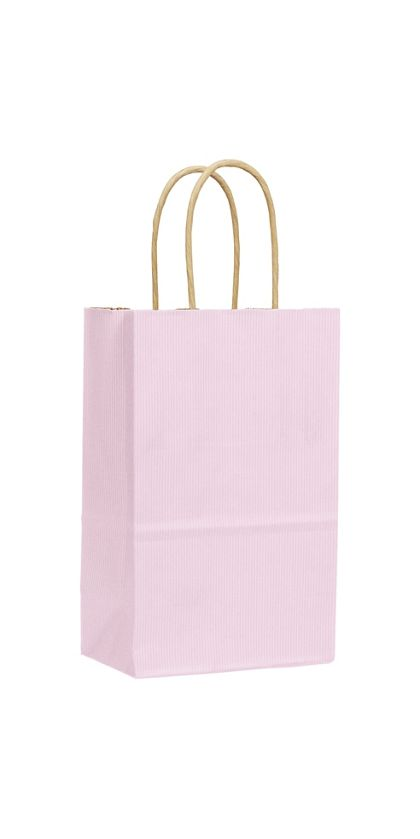 Light Pink Varnish Stripe Shoppers, 5 1/4x3 1/2x8 1/4