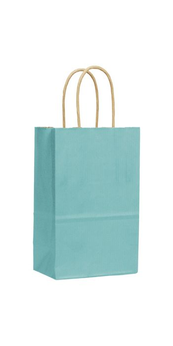 Seafoam Varnish Stripe Shoppers, 5 1/4 x 3 1/2 x 8 1/4